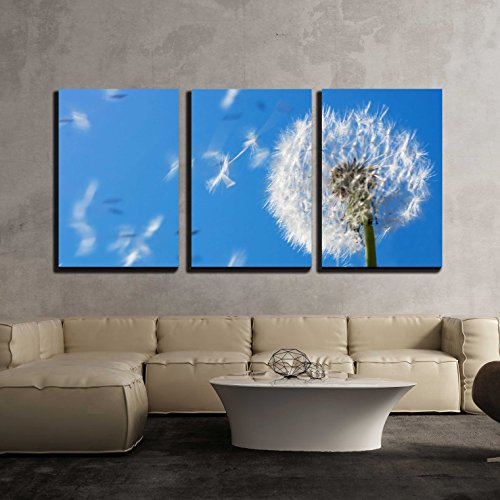 wall26 - 3 Piece Canvas Wall Art - Dandelion Seeds Flying in the Blue Sky. Useful for Spring Themes or Serenity - Modern Home Decor Stretched and Framed Ready to Hang - 16