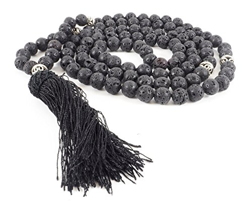 - 108 Black Lava Stone Mala Necklace or Wrist Wrap for Meditation, Prayer, Japa, Tantra, Aromatherapy