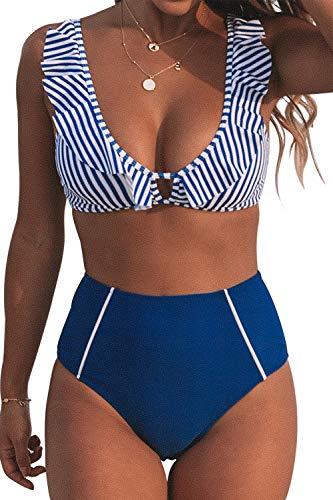 CUPSHE Damen Bikini Set Rüschen Bikinioberteil Top mit High Waist Bikinihose Strandmode Zweiteiliger Badeanzug