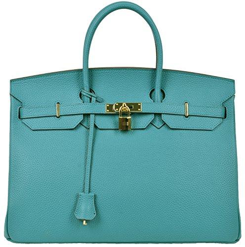 Cherish Kiss 40cm Oversized Padlock Business Office Top Handle Handbags (40cm with Gold Hardware, Peacock Blue)