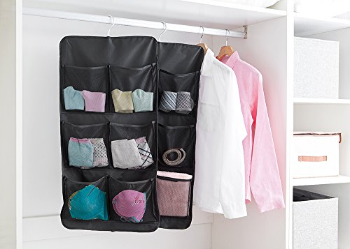 EXCEL-LEADER 7 Pockets Hanging Closet Dual-sided Organizer Hanging Toiletry Bag Book Shelf with Aluminum Hook,Black by EXCEL-LEADER