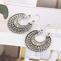 Jaywine2 Fashion Hoop Earrings Ethnic Tribal Aztec Hippy Dangle Silver Tibetan Jewellery