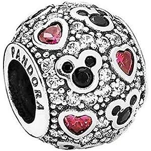 b9e63db6c Pandora Silver Bead Sparkling Mickey Hearts Disney Cz Charm 791457cz by  Pandora