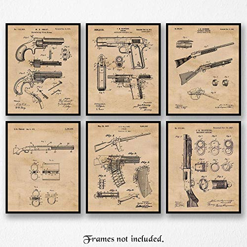 Vintage Remington Guns Patent Art Poster Prints, Set of 6 (8×10) Unframed Photos, Great Wall Art Decor Gifts Under 20 for Home, Office, Garage, Man Cave, Student, Teacher, Cowboys, NRA & Movies Fan