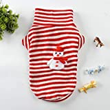 Glumes Pet Clothes, Doggie Puppy Cat Striped Snowman Pattern Sweater Pet Windproof Warm Coat for Small Medium Large Dogs Or Cat Ideal