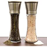 Salt And Pepper Grinder Set - A Dual Set Of Combo Grinders For Salt & Pepper Made Of Thick Glass Combined With Stainless Steel Top - Salt & Pepper Mill Pair , Salt And Pepper Shakers