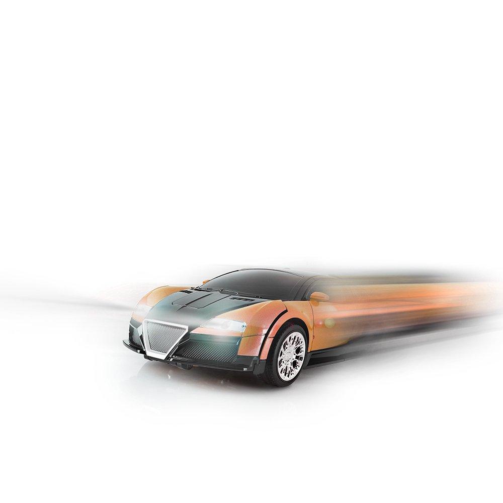 SainSmart Jr. Transformation Car Toy Bugatti Car Robot for Kids, RC Car One Button Transforms into Robot, Remote Control Transforming Robot (Orange) by SainSmart Jr. (Image #4)