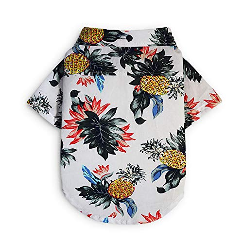 ELINKMALL Pet Summer Printed Shirt Dog Floral Short Sleeves Costume Pineapple Pattern Blouse]()