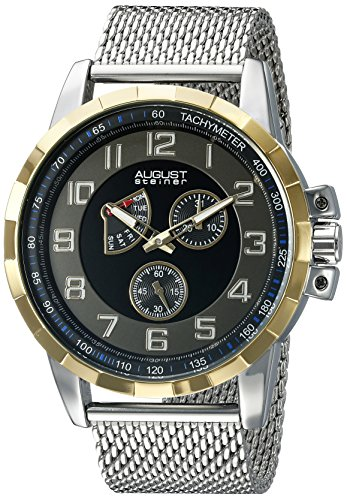 August Steiner Men's AS8202SSB Yellow Gold Multifunction Quartz Watch with Black and Gray Dial and Silver Mesh Bracelet