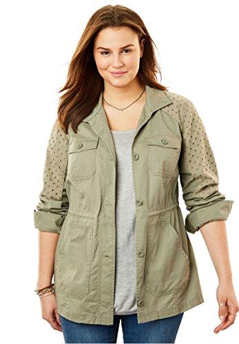 Womens Eyelet Jacket (Woman Within Plus Size Sport Twill Utility Jacket - Antique Sage Eyelet, 2X)