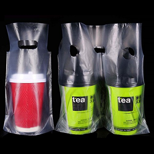 Clear Portable Take Out Handbag for Milk Tea Coffee Beverage Transparent Juice Drink Poly Plastic Packaging Bags for Sports Outdoors Camping Single Cup Water Carrier for Shops (1000, 7.9x11.0 inch) by PABCK (Image #6)