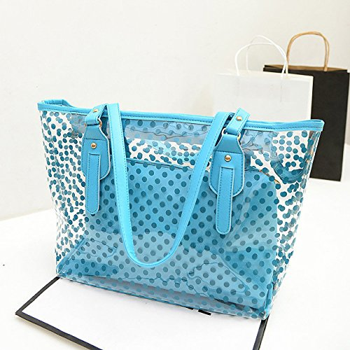 Beach Transparent Tote Jelly Summer Candy Shoulder Blue ShiyiUP Handbag Purse Bag Women UwAqU14