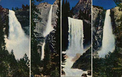 Nevada, Yosemite, Vernal and Bridal Veil Falls Yosemite National Park Original Vintage Postcard from CardCow Vintage Postcards