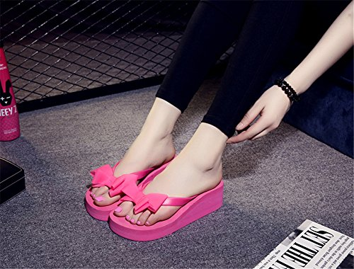 TELLW Summer slippers butterfly knot clip foot herringbone drag thick bottom non-slip high heel cool women slippers Pink tClSJsChs