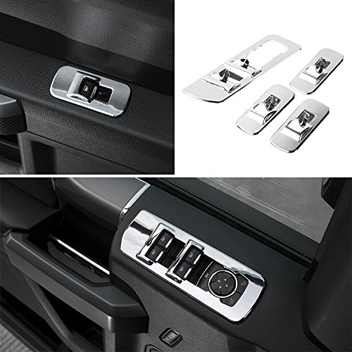 Ford F150 Chrome Accessories - Voodonala Chrome Window Lift Panel Cover Switches Cover Trim for 2015 2016 2017 2018 Ford F150 Accessories