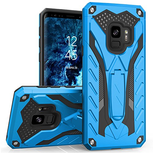 Zizo Static Series Compatible with Samsung Galaxy S9 Case Military Grade Drop Tested with Built in Kickstand Blue Black