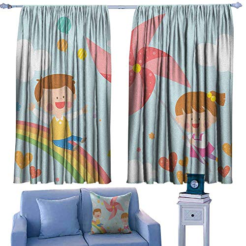 Mannwarehouse Pinwheel Fashion Curtain Children Riding on Rainbow Dreamy Heart Shaped Flowers Fairy Tale Nursery Kids Suitable for Bedroom Living Room Study, etc.63 Wx45 L Multicolor