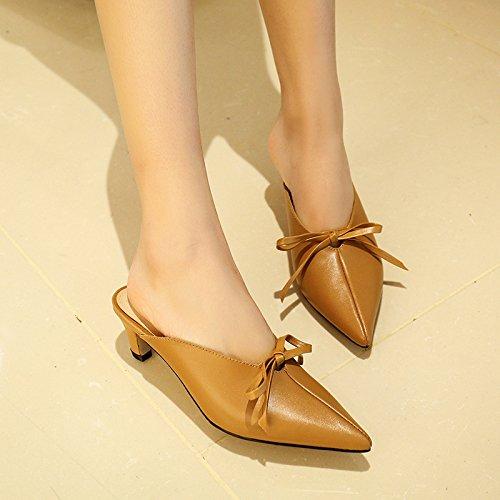 Moda Zapatillas alto de Treinta mujer AJUNR Zapatos y fina alargada Sandalias Transpirable de cabeza 5 nueve 36 pajaritas cm Zapatos tacones elegante khaki tacon dwHw0qp
