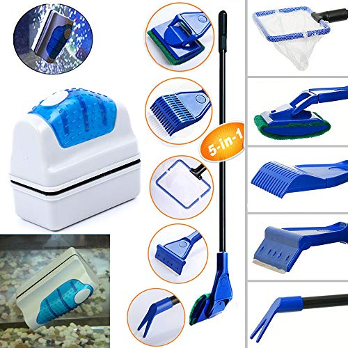 (Geenber Aquarium Fish Tank Clean Kit, Magnetic Aquarium Glass Cleaner & Algae Scrapers Set 5 in 1)