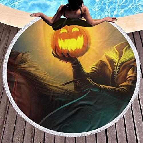 SHNNN Round Beach Towel Blanket - Halloween Headless Horseman Large Microfiber Terry Beach Roundie Circle Picnic Carpet Yoga Mat with Fringe for Women]()