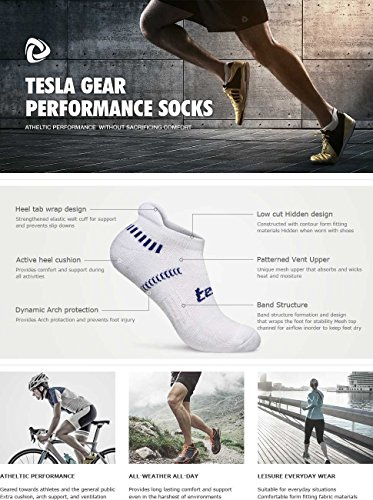 TM-MZS04-WHT_M Tesla Men's 6-Pairs Atheltic No Show Socks Cushioned Comfort w Mesh MZS04