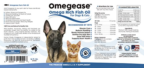 Omegease omega 3 6 9 fish oil for dogs and cats 16 for Fish oil for cats dosage