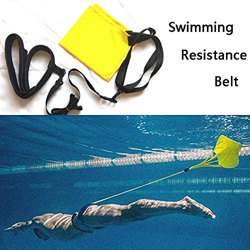 Fullwei Swimming Resistance Belt Drag Parachute and Tether, for Stationary Resistance Training/Endless Pool - Adult, Kid, Pro, Amateur use (Yellow)