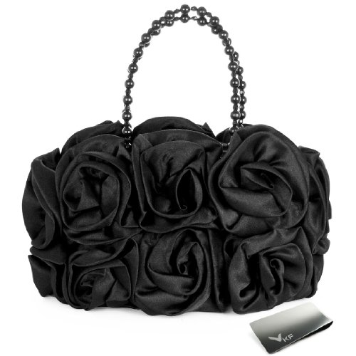 Missy K Satin Rose Handbag Purse, with Beaded Chain Handle, Black, kilofly Money Clip