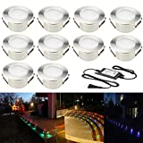 10pcs Multi-color RGB 1W LED Deck Light Kit 2-2/5'' Stainless Steel Waterproof IP67 Recessed Outdoor Yard Garden Patio Stairs Landscape Step Lighting
