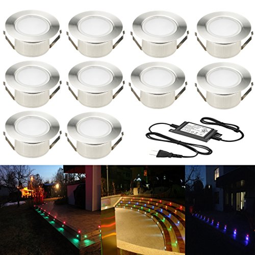10pcs Multi-color RGB 1W LED Deck Light Kit 2-2/5'' Stainless Steel Waterproof IP67 Recessed Outdoor Yard Garden Patio Stairs Landscape Step Lighting by FVTLED