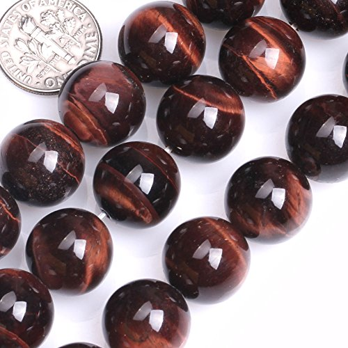 GEM-inside Red Tiger Eye Gemstone Loose Beads Natural 14mm Round Crystal Energy Stone Power For Jewelry Making ()