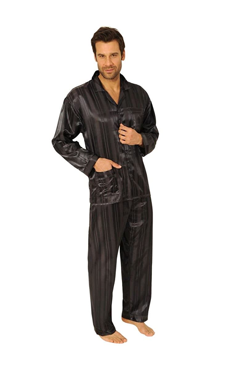 d50b2dadd41c35 Normann Germany Herren Satin Pyjama Schlafanzug Durchgeknöpft Langarm  Klassik Streifen: Amazon.de: Bekleidung