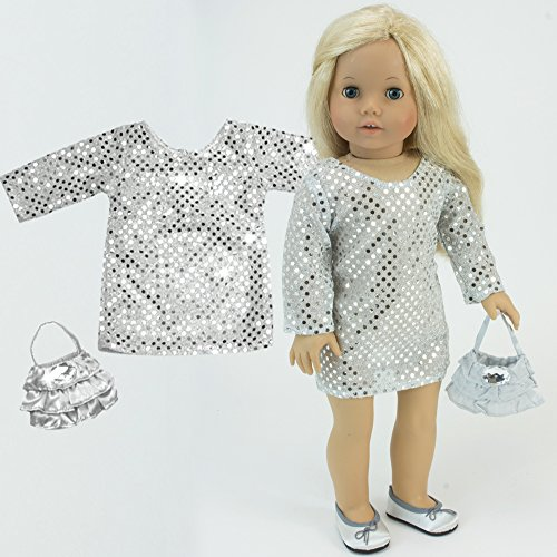 18 Inch Doll Dress, Shimmering Silver Sequin Tunic Dress & Beautiful Purse Perfect for your 18 Inch American Girl Doll Clothes & More! Sophia's Silver Sequin Tunic Dress & Purse (Prom Shoes Accessories)