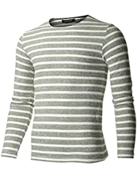 FLATSEVEN Men's Slim Fit Striped Long Sleeve T-shirt