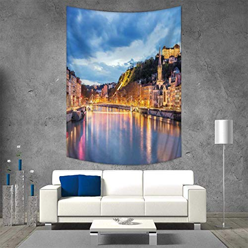 Anhuthree European Art Wall Decor View of Saone River in Lyon City at Evening France Blue Hour Historic Buildings Vertical Version Tapestry 60W x 91L INCH Multicolor -