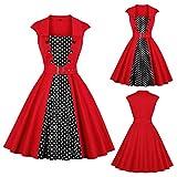 Aneofaob Women Dress, Sexy Button Sleeveless Print Dress Vintage Dot Fashion Elegant Party Swing Mini Skirt (S, Red)