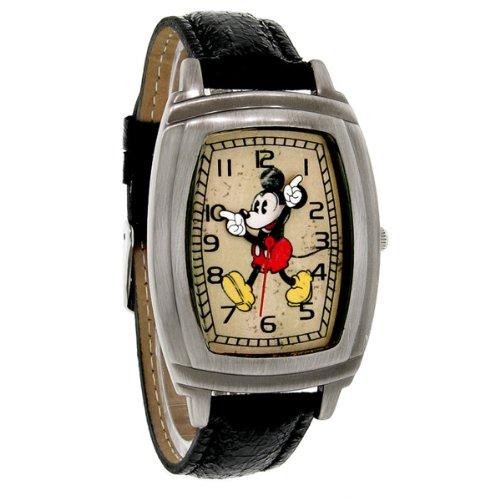 Rectangular Antiqued Black Leather Band Quartz Watch MCK762 ()