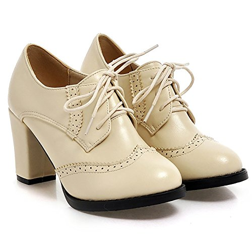 Odema Womens PU Leather Oxfords Brogue Wingtip Lace Up Dress Shoes Chunky High Heels Pumps Oxfords Beige EuUXZ3