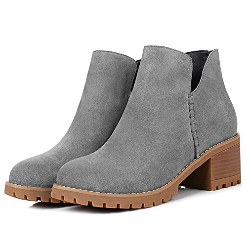 DecoStain Women's Cow Suede Leather Nubuck Slip-On Mid Heel Boots Grey dkDv3A8g3