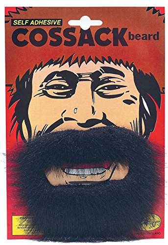 [Fancy Dress Party Stick On Fake Facial Hair Russian Pirate Cossack Beard Black] (Black Russian Male Adult Costumes)