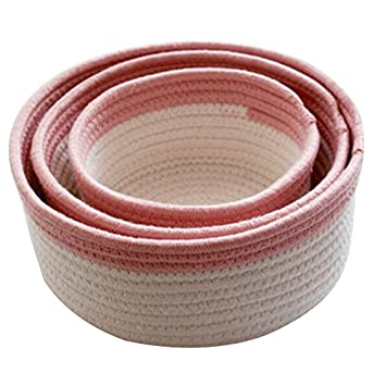 BELUPAI Cotton Rope Storage Basket, Set of 3 Home Storage Basket Decor Toy Organizer Nursery Room Decor Gift Woven Storage Baskets Baby Bins for Toys, Towels, Blankets (Pink)