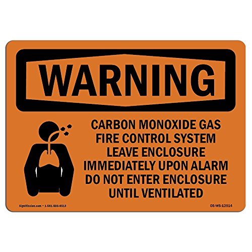 OSHA Waring Sign - Carbon Dioxide Gas Fire with Symbol   Vinyl Label Decal   Protect Your Business, Construction Site, Warehouse & Shop Area   Made in The USA