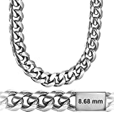 Sterling Manufacturers Cuban Link Chain - Platinum Plated 8.6 MM Solid .925 Sterling Silver Miami Cuban Made in Italy by