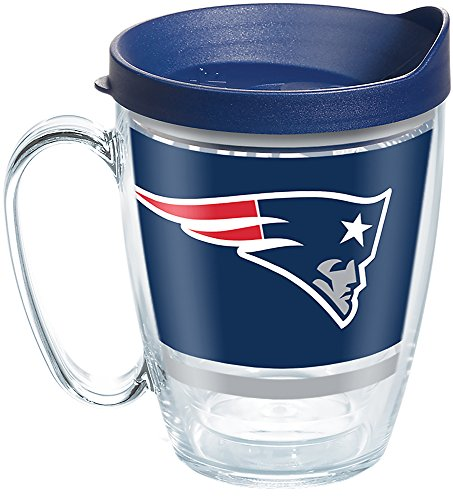 Tervis 1257541 NFL New England Patriots Legend Tumbler with Wrap and Navy Lid 16oz Mug, Clear ()