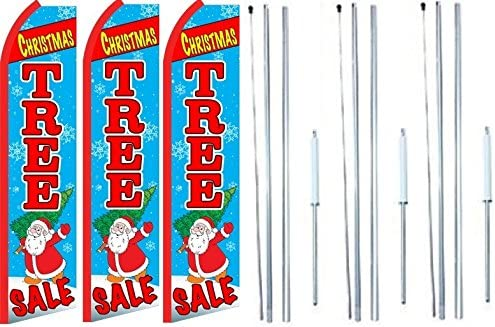 Pack of 3 Christmas Tree Sale King Swooper Feather Flag Sign Kit with Complete Hybrid Pole Set