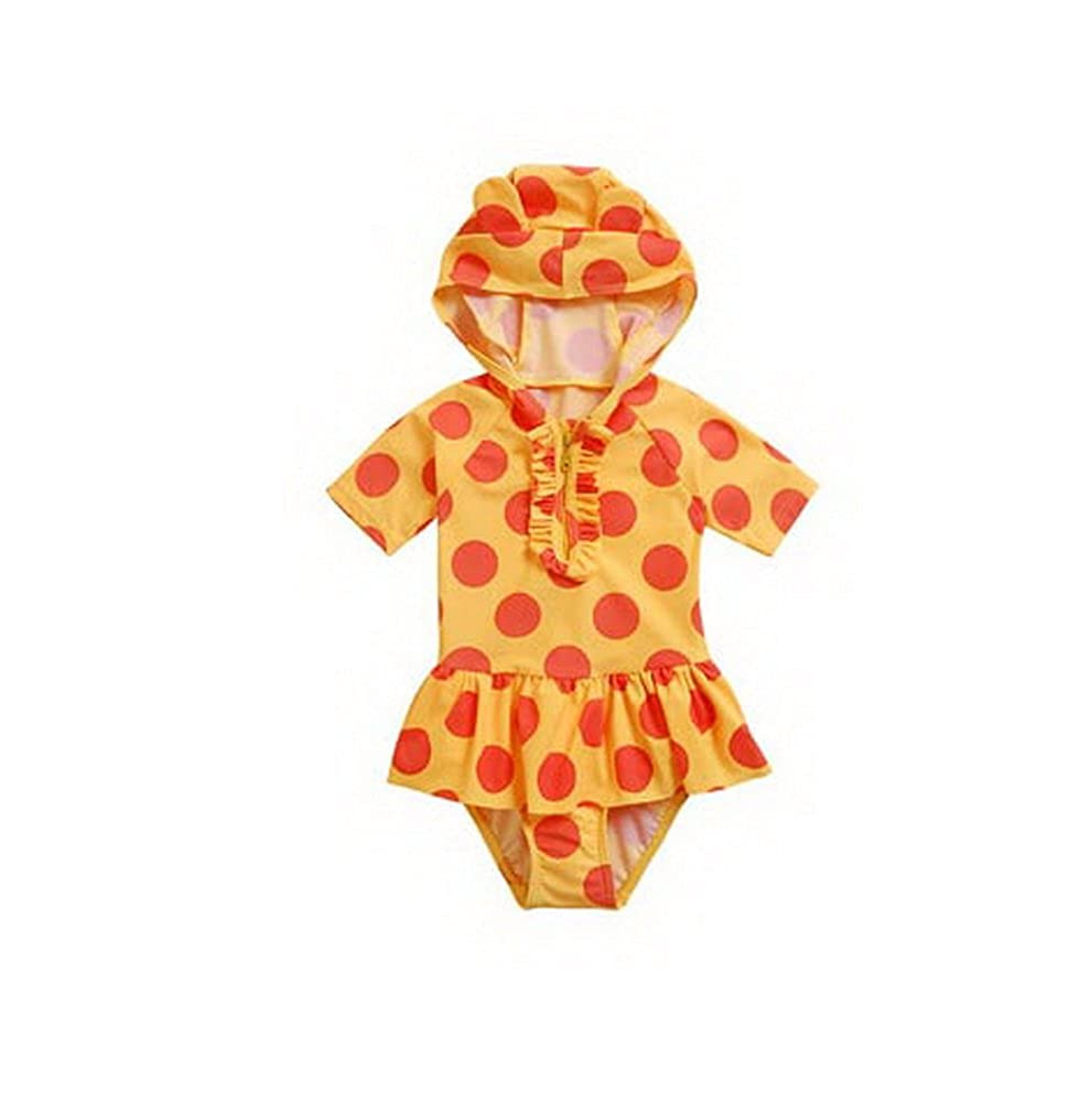 Cute Girl Swimwear Dotted One Piece with Hoodie, Yellow, Under 2 Years old, 3T PANDA SUPERSTORE PS-SPO2420249011-EMILY00844