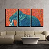 wall26 - 3 Piece Canvas Wall Art - Blue Elephant 2010. Original Acrylic Painting on Canvas.Tradition Thai Painting - Modern Home Decor Stretched and Framed Ready to Hang - 24''x36''x3 Panels