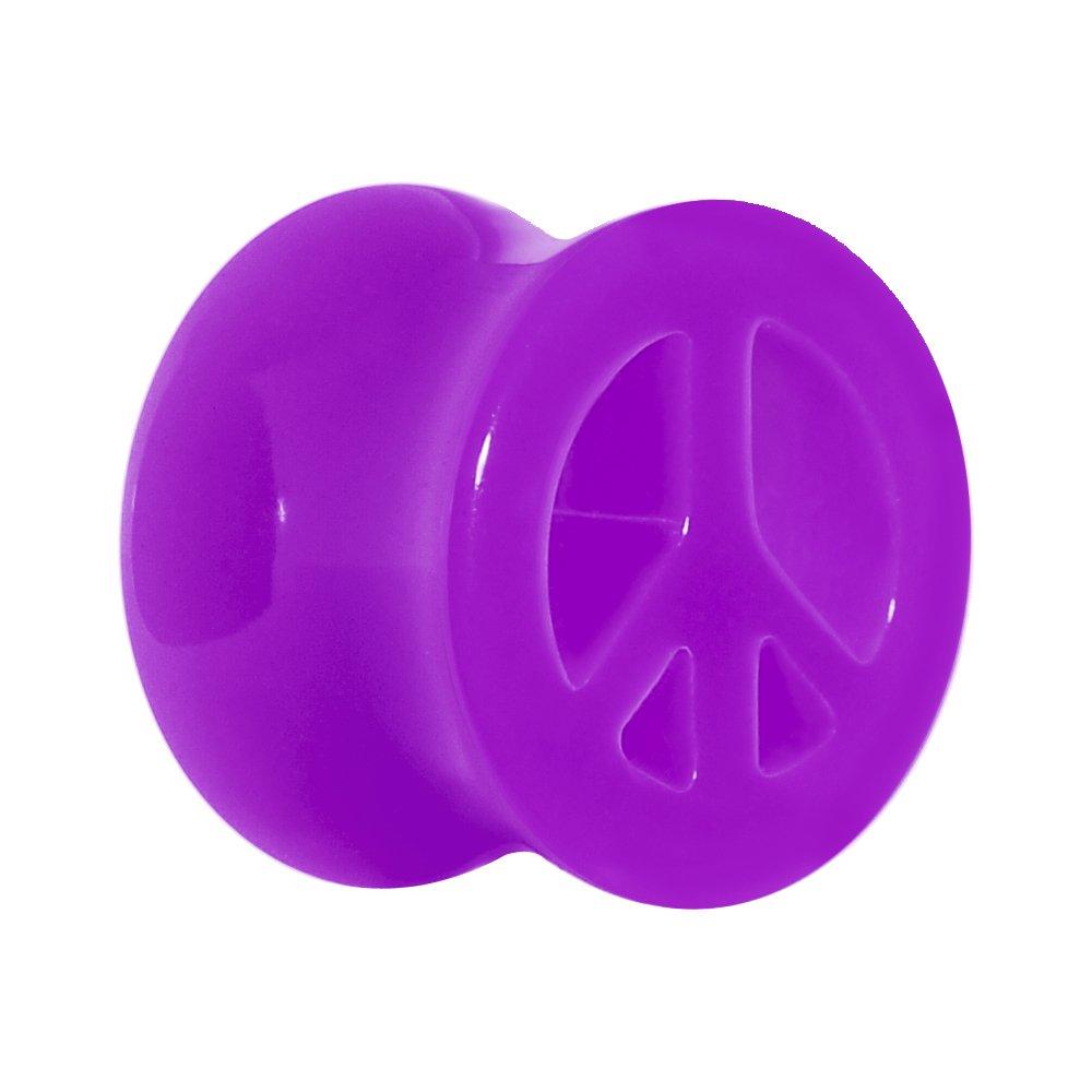 Body Candy 1/2'' Acrylic Neon Purple Peace Sign Tunnel Ear Gauge Plug (1 Piece)