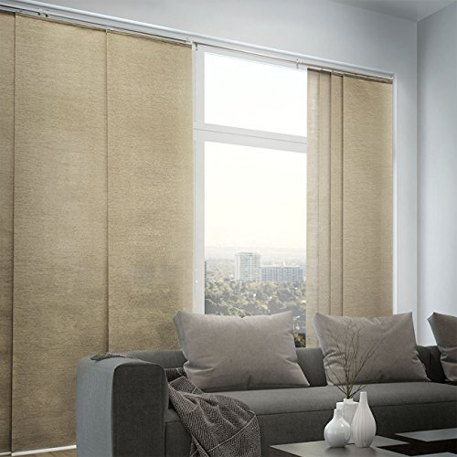 Chicology Adjustable Sliding Panels, Cut to Length Vertical Blinds, Nevada Timberwolf (Natural Woven) – Up to 80″W X 96″H