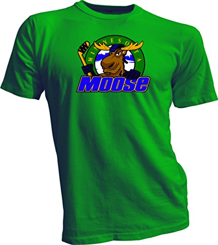 MINNESOTA MOOSE Defunct St. Paul MN IHL Hockey Team Retro Green T-SHIRT NEW XL